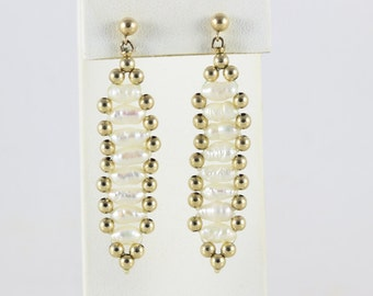 14k Yellow Gold Beaded Pearl Earrings Dangle Drop Earrings