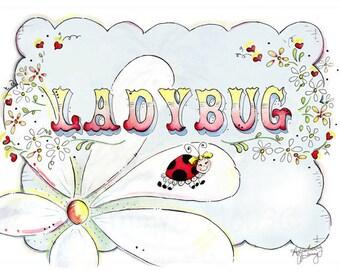 Daisy | Ladybug | Watercolor Art | Nursery Room Print | Daisy PRINT | Flower ART | Garden Art pRINT