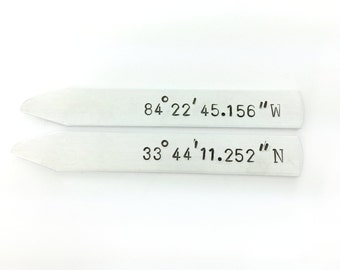 custom coordinates, 10 year anniversary gifts for men, shirt stays, custom collar stays, gift for him, gift under 30, Valentine's Day Gift