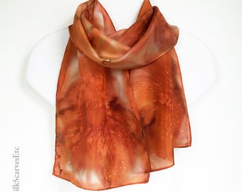 Handpainted silk scarf, Burnt orange scarf, Abstrast floral silk scarf, Orange hand dyed silk, Artist painted watercolor scarf, Gift for her
