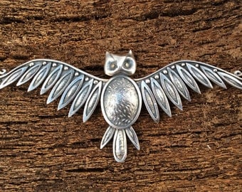 Silver owl necklace - owl pendant - owl jewellery - owl lovers gift - owl gift - birder lovers gift - gift for her - nature lovers gift