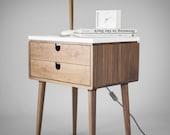 Walnut Mid-Century Scandinavian bedside Table / Nightstand in solid Walnut board , legs made of solid walnut