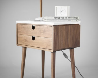Nightstand with two drawers in solid Walnut wood board and on top Carrara marble