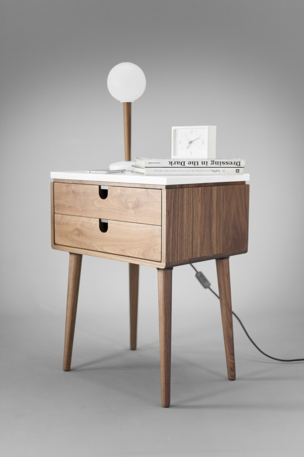 Nightstand with two drawers in solid walnut wood board and on top carrara marble - Petite table de nuit ...