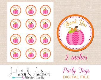 Pumpkin, Fall Thank you Tags, Favor Tags, Treat tags, Gift Tags, Pink, Orange, Birthday Tags, Party Tags, DIGITAL FILE