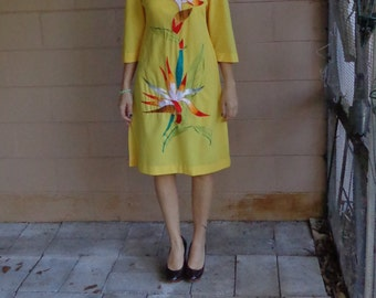 Vintage 60's Embroidered Dress / Tropical Floral / Small Medium