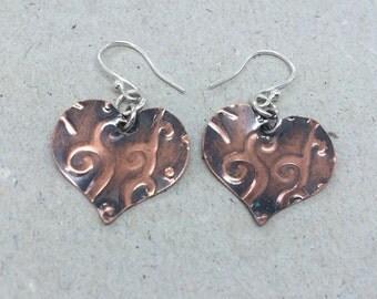 Copper Heart Dangle Earrings, Sterling Silver Earrings, Mixed Metal Earrings, Textured Copper Jewellery, Modern Copper Jewellery,