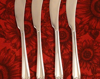4 Individual Butter Spreaders Knives 1847 Rogers ETERNALLY YOURS Vintage 1941 SilverPlate Flatware Cheese Spreaders