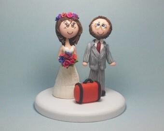 Wedding cake topper, traveler cake topper, custom wedding cake topper, tourist cake topper