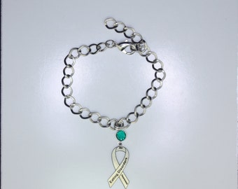 Eating Disorder Awareness Ribbon Bracelet - Anorexia,Bulimia Recovery Support Jewelry