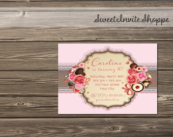 Chocolates And Roses Party Invitation, Sweets And Flowers Pink Birthday Invitation, Pink Floral Party Invitation. Any Age Invitation