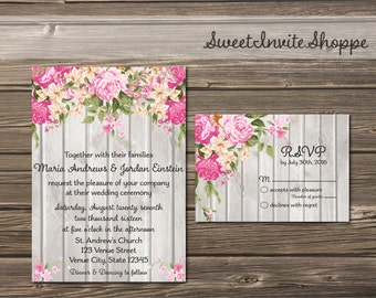 Rustic Peony Wedding Invitation Suite, Pink Floral Invitation, Pink And Grey Wooden Rustic Invitation, RSVP, Thank You, Peony Invitation