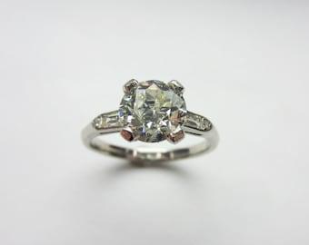 Vintage Platinum 1.77ct Old European Cut Diamond Engagement Ring Sz 7.25