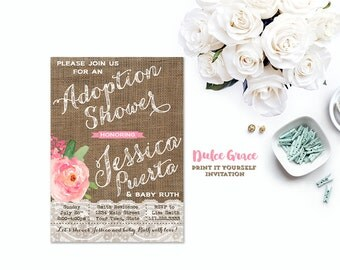 Adoption Shower Invitations, Country Baby Shower Invites, Girl Adoption  Shower, Adoption Shower Party