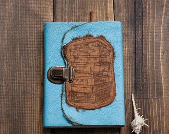 Travel notebook Blue Travel Journal  Handmade Journal  Leather Journal  Suitcases Journal Travel book