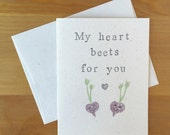 Pun Valentine / Anniversary / I Love You Greeting Card - My Heart Beets for You