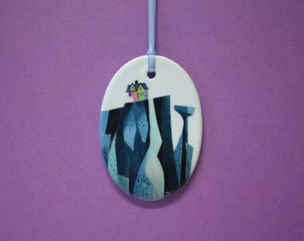 Disney Pixar UP inspired ceramic Paradise falls ornament christmas decoration