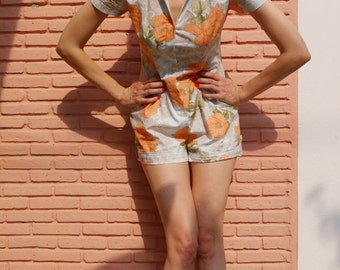 Peach Chrysanthemum and Paisley Romper\\ 70s Playsuit