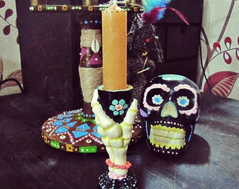 Day of the Dead Candle Holder - Día de los Muertos - Boho Candle Holder - Witchcraft Altar - Boho Decor - Sugar Skull - Mexican Altar Tool