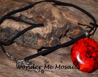 20% SALE  Red Circle Pendant & Necklace - Alcohol Ink Colors