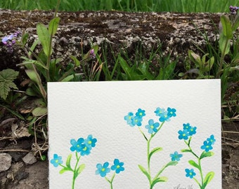Hand-Painted Postcard, Forget-Me-Nots