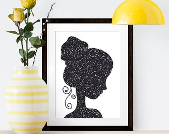 Female Woman Girl Silhouette Black Glitter White Nursery Home Office Shiny Sparkle 8x10 Wall Art Decor Print Digital Download