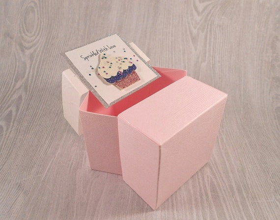 Baby Shower Thank You Gift Boxes : Baby shower cupcake gift box pink favor mom to be