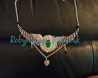 Marbled Terracotta Swarovski Heart and Green Abalone Shell Winged Necklace with Silver Filigree and Green Czech Glass Beads