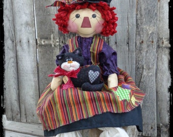 OOAK Witch Halloween Rag Doll, Primitive Raggedy Ann Folk Art, Black Cat Kitten, Autumn Fall Decor, OFG FAAP