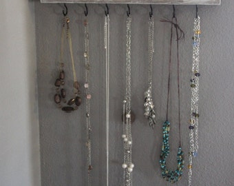 White Distressed Jewelry Hanger, Jewelry Organizer, Necklace Hanger, Jewelry Storage, Jewelry Display, Necklace holder