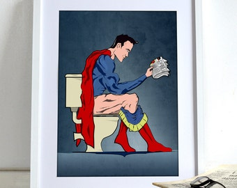 Superhero Superman On Toilet Poster Comic Book Wall Art Print Home Décor