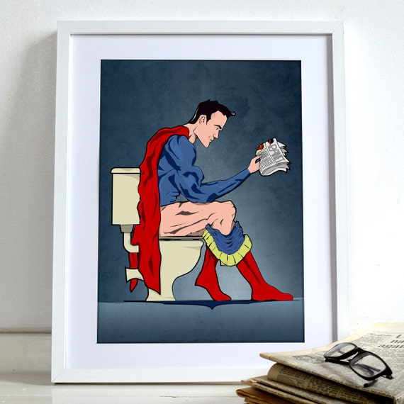 Superhero Superman On Toilet Poster Comic Book Wall Art Print Home Décor