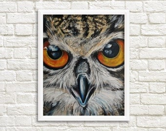 Owl print, digital print with a owl, owl painting, animal art print, owl art print, wall decoration, INSTANT DOWNLOAD (0034)