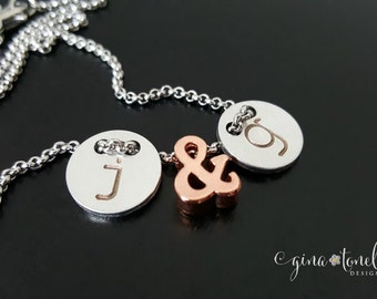 Couples Necklace, Rose Gold Personalized Necklace, Ampersand Jewelry, Couples Initials Charms, Girlfriend Gift, Valentines Gift