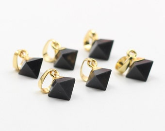 Tiny Diamond Black Agate Pendants -- With Electroplated Gold Edge Charms Wholesale Supplies CQA-029