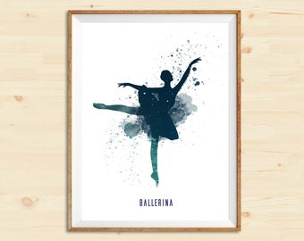 Ballerina Dancing | Watercolor art print | Wall decor | Home decor | Watercolor digital art | Wedding gift | Gift idea