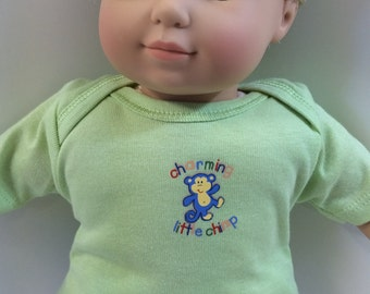 "BOY 15 inch Bitty Baby Clothes, Top ONLY ""Charming Little CHIMP"" Monkey Top, 15"" Ag American Doll Bitty Baby Clothes, Top Only- 4.00 Dollars"