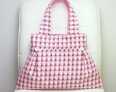 """Shoulder bag, Vintage Feedsack Purse, Pink and White, Circles and Feathers, Vintage buttons pleated details """"Mary"""" Tote Bag"""