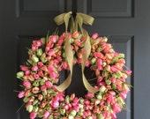 "24"" Tulip Wreath   Spring Wreaths   Front Door Wreaths   Wreath   Tulip Wreath   Door Wreath Spring   Spring Decor   Valentines Day Wreath"