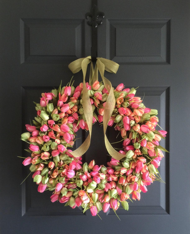 24 Tulip Wreath Spring Wreaths Front Door Wreaths