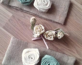 Burlap Tie Back - Choose Colour of Roses - Tie Back - Burlap Drape Tie Back - Set of 2 - Rustic Home Decor - Hessian Tie Back - Spring Color
