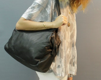 Sale!!! LARGE Black leather bag, soft leather bag, leather tote Bag