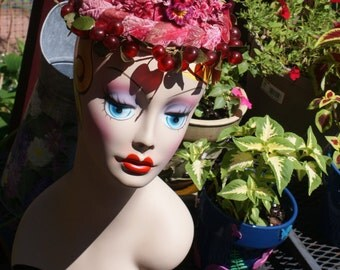 Darling Red Floral And Cherry Vintage Hat