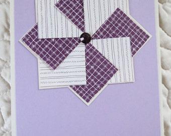 Sewing Theme Notecard Set / Eggplant Colored Faux Pinwheel Notecards/ Handmade Notecard Set/ Blank notecards