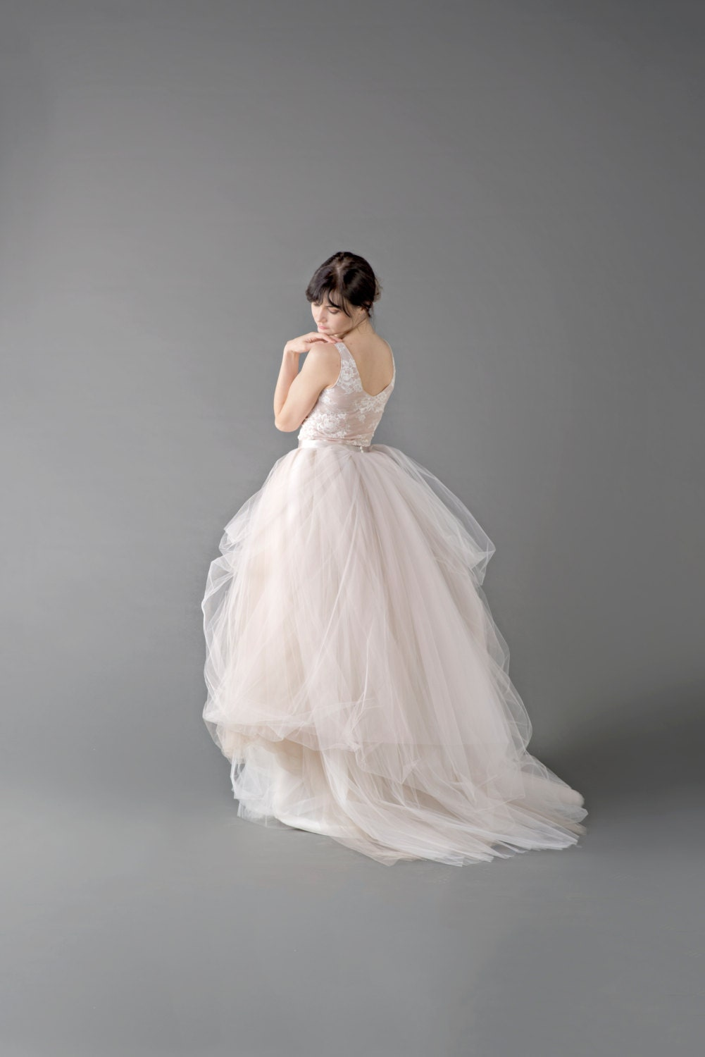 Catherine tulle gown skirt tulle wedding skirt layered for Tulle layered wedding dress