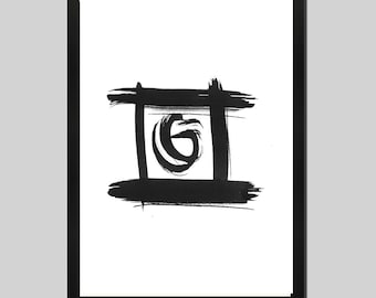 Abstract black and white, print, ink, abstract art, oriental style, fine art abstract