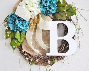 Blue & White Hydrangea Grapevine Wreath with Burlap. Year Round Wreath. Spring Wreath. Summer Wreath. Monogram Wreath. Door Wreath.