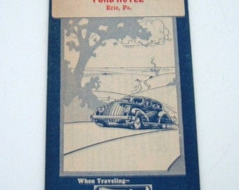 Vintage 1930s Road Map - Midwest Map Co. Illinois Highway Map - Compliments of Ford Hotel Erie, Pa.  1930s Art Deco Car Graphic