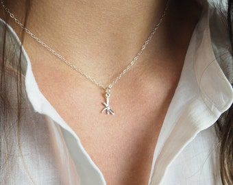 Tiny Dragonfly Necklace, Sterling Silver Dragonfly Necklace, Sterling Silver Necklace