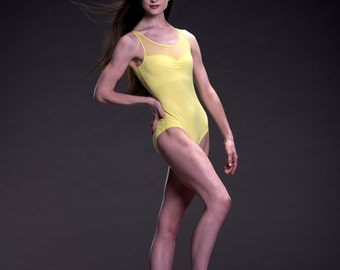 Sarah - Custom Tank Leotard with Deep Sweetheart Front and Mesh Top (specify fabric choices at checkout)